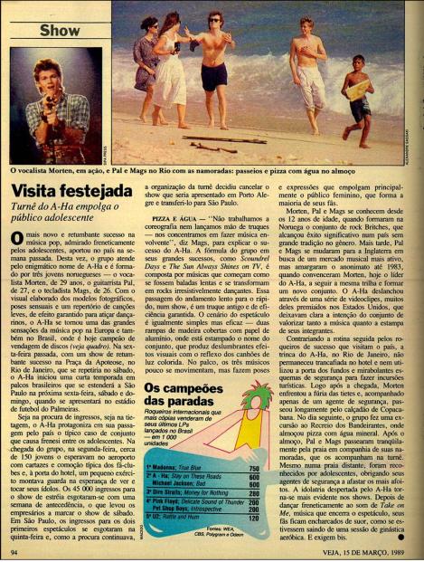 a-ha na Veja 1989